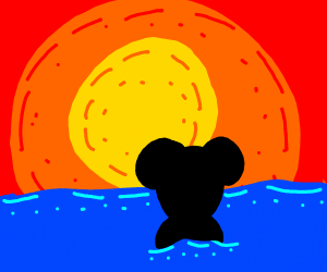 Mickey mouse swimming during sunset