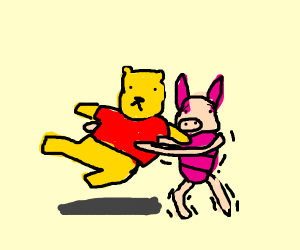Piglet carrying Pooh