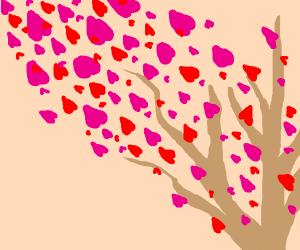 Windy tree blows hearts away