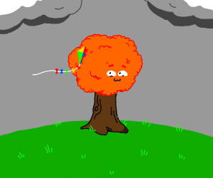 tree has a kite stuck in it and is delighted