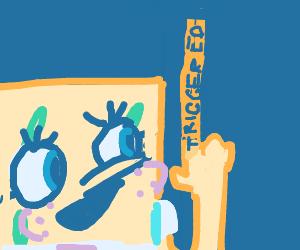 Spongebob with trigger finger