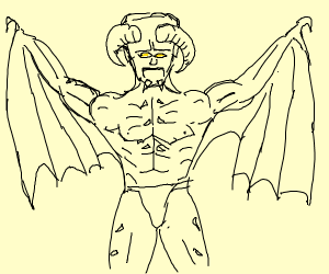 Demon with bat arms and muscles