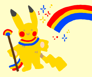 Pikachu with Rainbow Scarf and Scepter