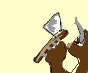 bull man holding axe