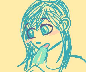anime girl eating a popsicle
