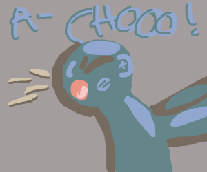 Blue man sneezes