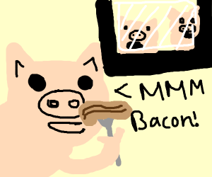 traitor pig eats ham; his family is shocked