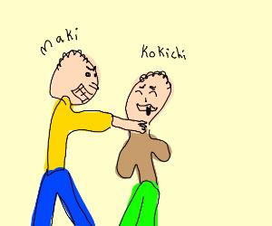 Maki strangling Kokichi (DR)
