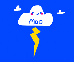 a cloud named 'moo' with lightning