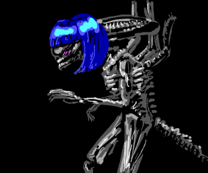 hot alien babe with neon blue hair