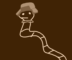 tapeworm wearing a hat