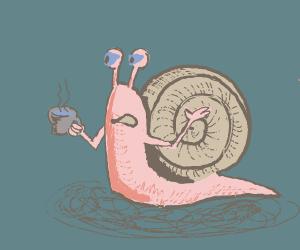 snail drinking tea