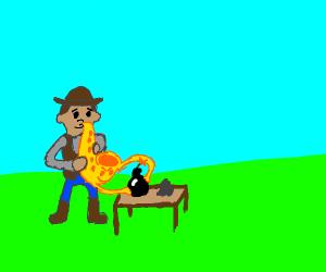 Cowboy playing a saxophone making bombs.
