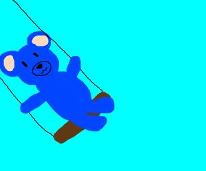Blue Bear Cub on a swing