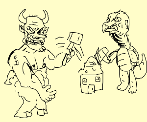 Satan and a turtle attack a house