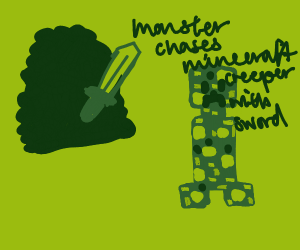 Monster chases Minecraft creeper with sword