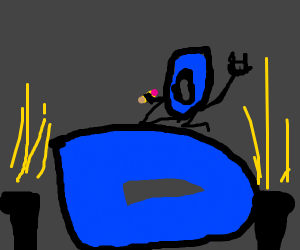 Drawception D on a stage