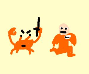 Crab guard chasing escaped prisoner