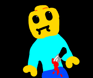 Lego man has been stabbed ooof