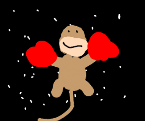 Monkeh with Strong Bad gloves in space