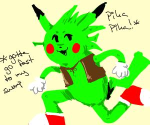 pikachu sonic and shrek fusion