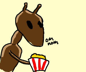 alien ant eating popcorn