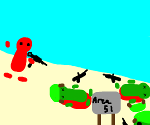 Dude at area 51 shooting army