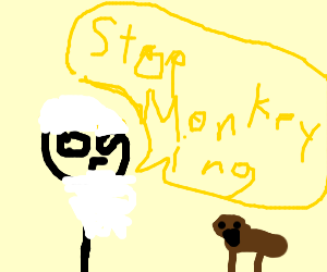 Old man tells George to stop monkeying