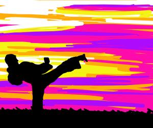 sunset karate running