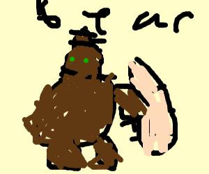 a poop bear eating baguette