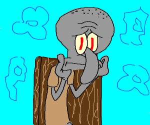 Squidward on a chair