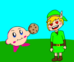 Kirby gives a cookie to Link