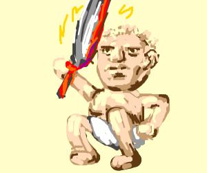 man baby with big sword