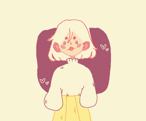 Cute girl with white hair and yellow skirt