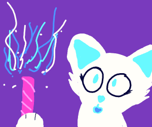 witch cat playing with wand