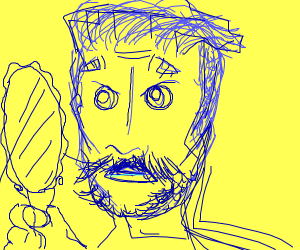 Man alarmed by his own blue beard