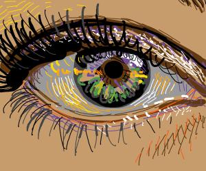 Green eye on tanned skin