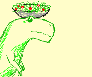 T-Rex with Salad bowl on its head