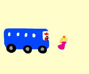 Mario riding the bus to get to peach