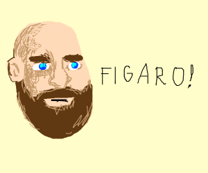 Bald bearded detailed man saying Figaro!