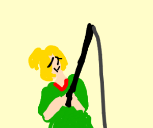 A lady fishing with a fishing rod (?)