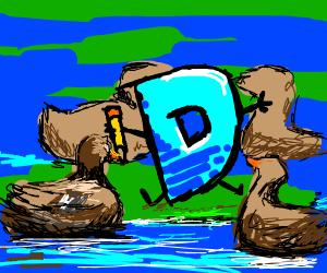Drawception D with ducks surrounding him