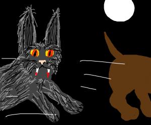 Wererabbit attacks dog