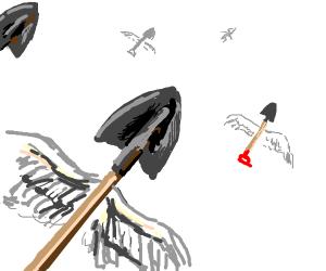 A flock of shovels
