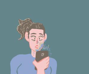 girl horrified at cell phone