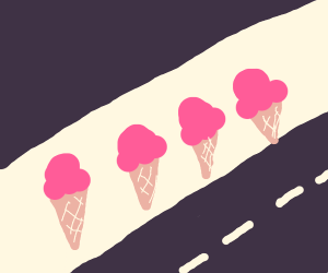 Road lined with ice cream walls