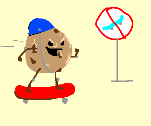 Skater cookie is in the no skate zone