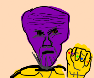 thanos but his forehead is big not his chin