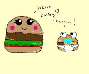Mom hamburger and baby cheeseburger