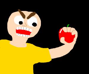 man screaming at an apple???????????